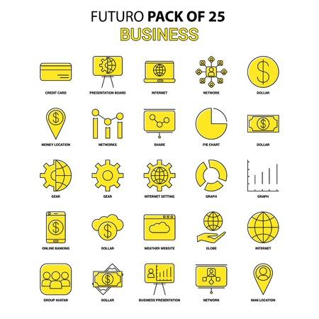 Business Icon Set. Yellow Futuro Latest Design icon Pack Illustration