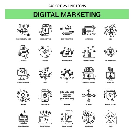 Digital Marketing Line Icon Set - 25 Dashed Outline Style Vektoros illusztráció