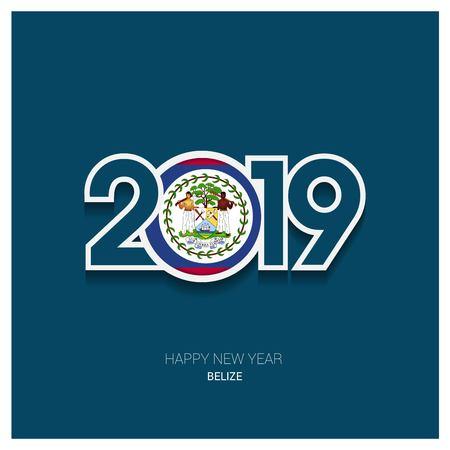 2019 Belize Typography, Happy New Year Background Vectores