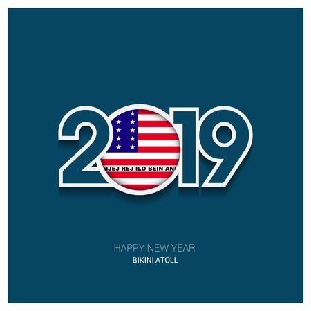 2019 Bikini Atoll Typography, Happy New Year Background