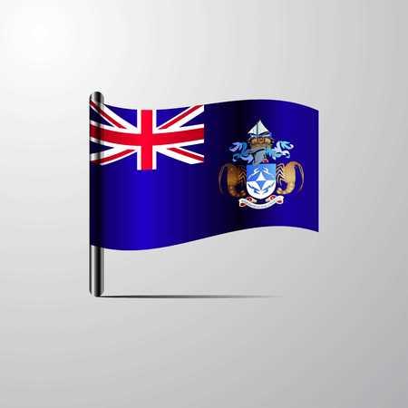 Tristan da Cunha waving Shiny Flag design vector