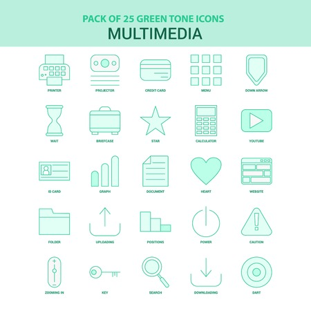 25 Green Multimedia Icon set