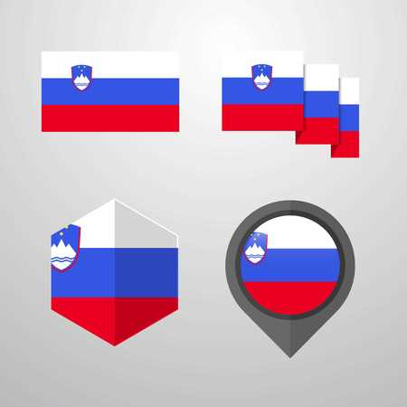 Slovenia flag design set vector 일러스트