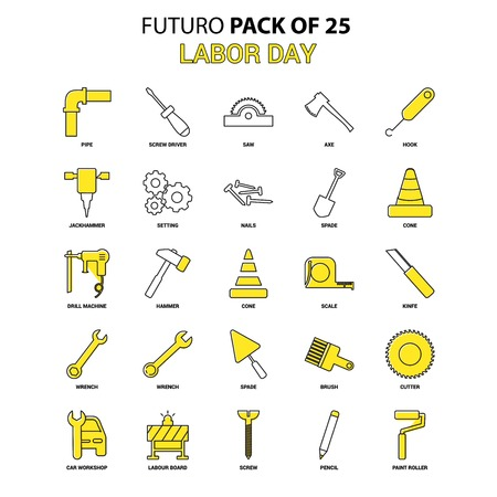 Labor day Icon Set. Yellow Futuro Latest Design icon Pack