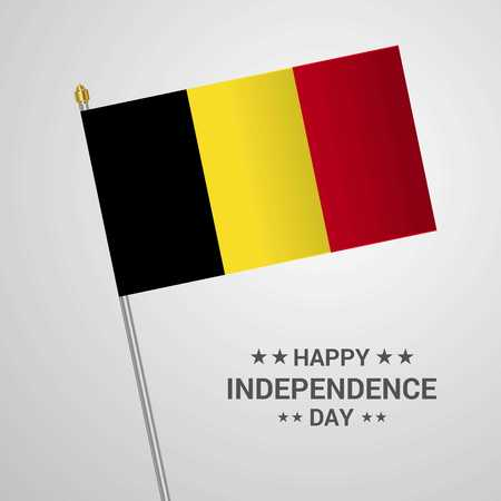 Belgium Independence day typographic design with flag vector