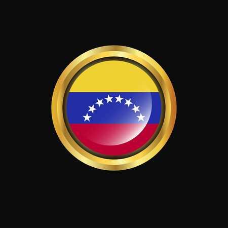 Venezuela flag Golden button