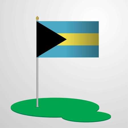 Bahamas Flag Pole Illustration