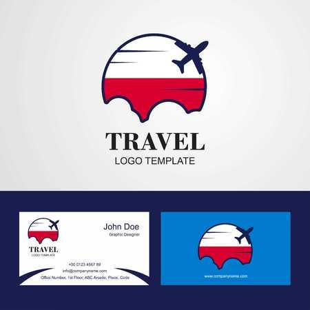 Travel Poland Flag Logo and Visiting Card Design