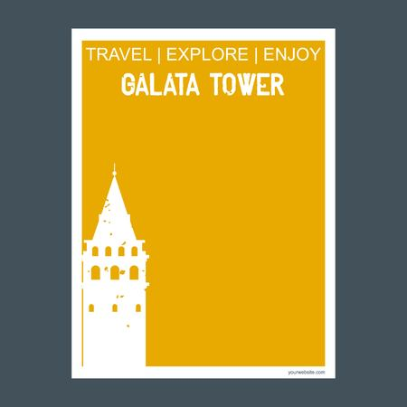 Galata Tower Ä°stanbul, Turkey monument landmark brochure Flat style and typography vector