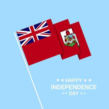 Bermuda Independence day typographic design with flag vector Ilustração