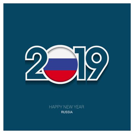 2019 Russia Typography, Happy New Year Background