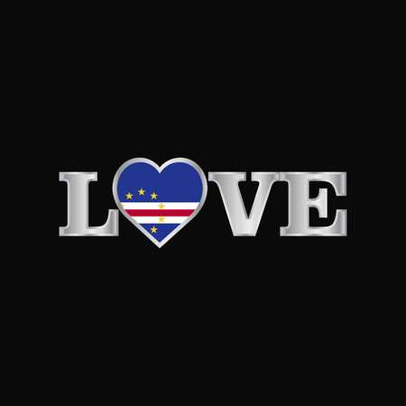 Love typography with Cape Verde flag design vector