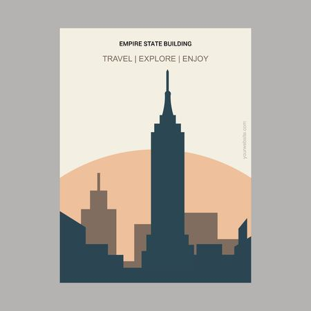 Empire State Building NY , USA Vintage Style Landmark Poster Template Illustration