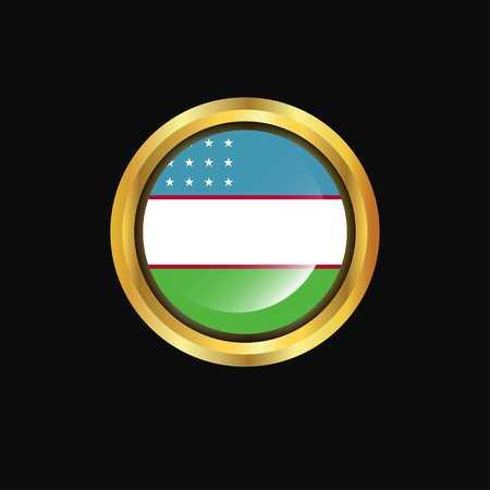 Uzbekistan flag Golden button Stock Illustratie