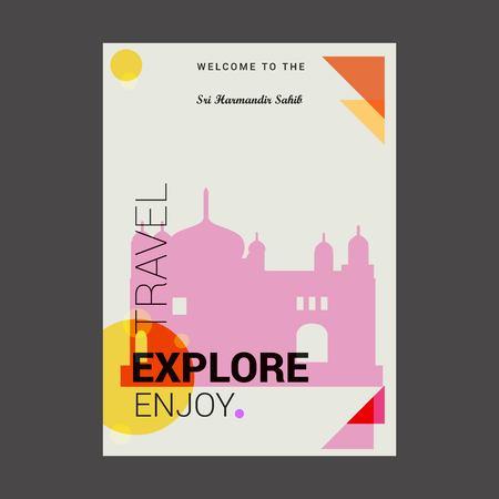 Welcome to The Sri Harmandir Sahib Amritsa,  India Explore, Travel Enjoy Poster Template Иллюстрация
