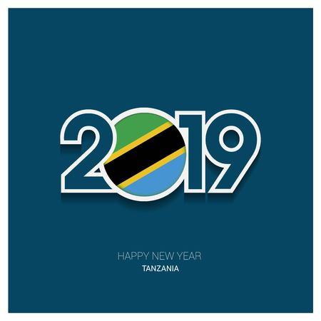 2019 Tanzania Typography, Happy New Year Background