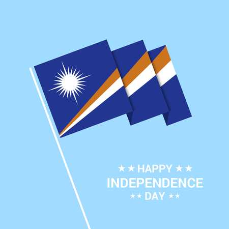Marshall Islands Independence day typographic design with flag vector Çizim