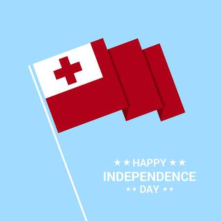 Tonga Independence day typographic design with flag vector