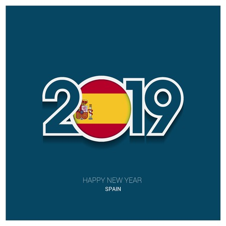2019 Spain Typography, Happy New Year Background Illustration
