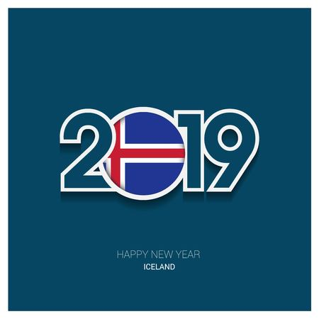 2019 Iceland Typography, Happy New Year Background