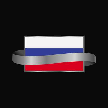Russia flag Ribbon banner design