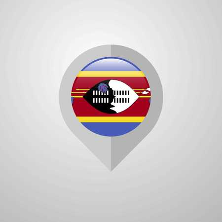 Map Navigation pointer with Swaziland flag design vector