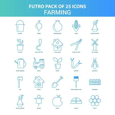 25 Green and Blue Futuro Farming Icon Pack