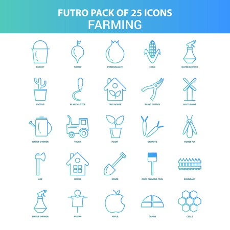 25 Green and Blue Futuro Farming Icon Pack