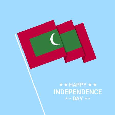 Maldives Independence day typographic design with flag vector