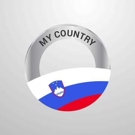 Slovenia My Country Flag badge 일러스트