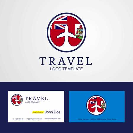 Travel Bermuda Creative Circle flag Logo and Business card design Ilustração