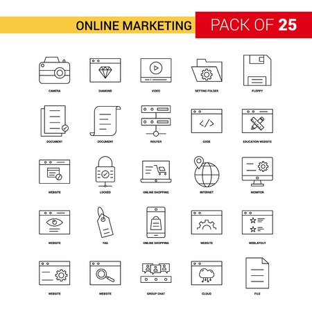 Online Marketing Black Line Icon - 25 Business Outline Icon Set