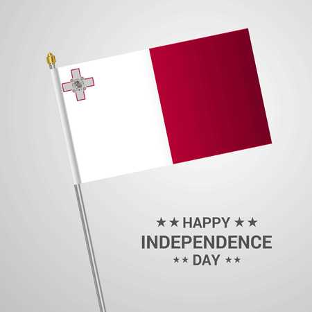 Malta Independence day typographic design with flag vector