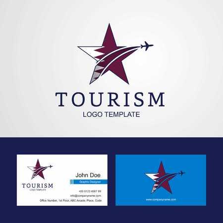 Travel Qatar flag Creative Star Logo and Business card design