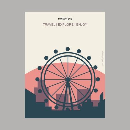 London Eye, United Kingdom Vintage Style Landmark Poster Template