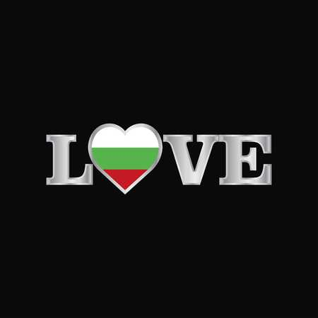 Love typography with Bulgaria flag design vector