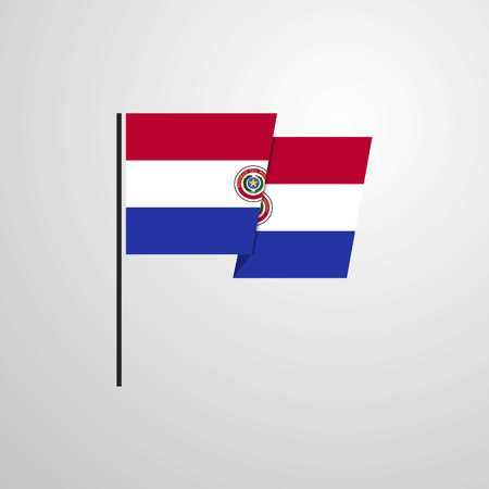 Paraguay waving Flag design vector Illustration