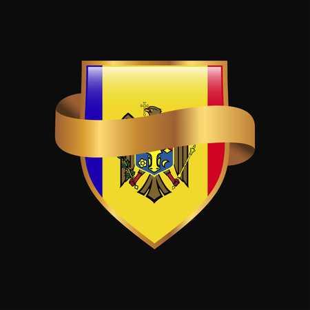 Moldova flag Golden badge design vector