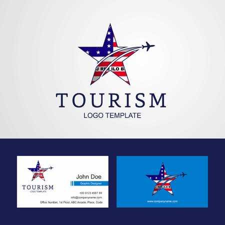 Travel Bikini Atoll flag Creative Star Logo and Business card design Stock Illustratie