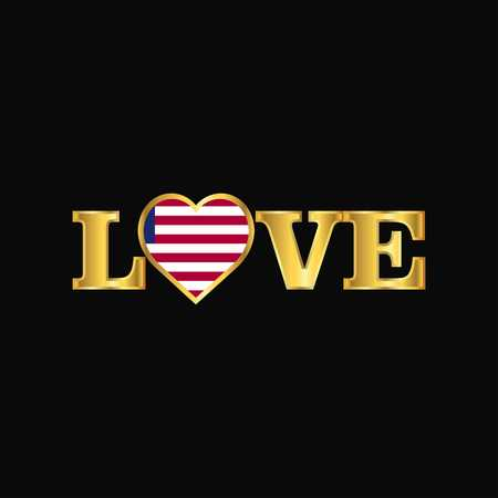 Golden Love typography Liberia flag design vector