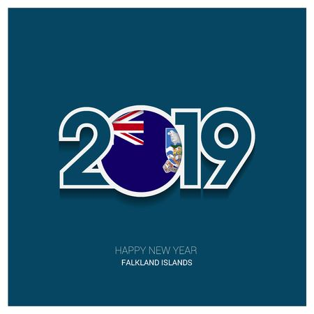 2019 Falkland Islands Typography, Happy New Year Background