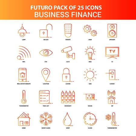 Orange Futuro 25 Business Finance Icon Set