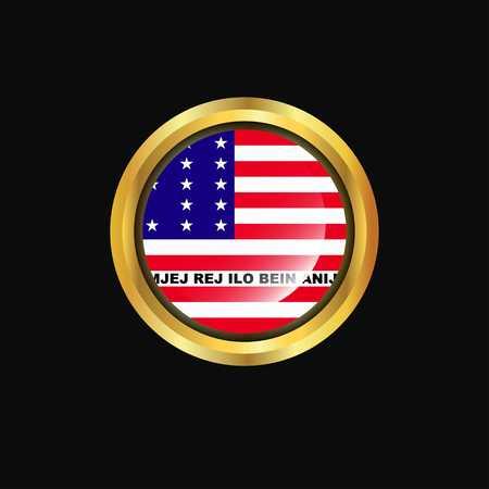 Bikini Atoll flag Golden button Stock Illustratie
