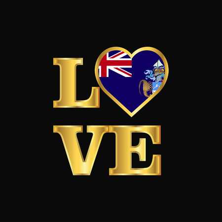 Love typography Tristan da Cunha flag design vector Gold lettering