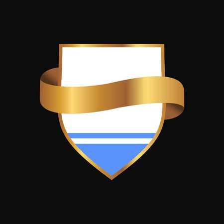Altai Republic flag Golden badge design vector  イラスト・ベクター素材