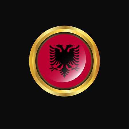 Albania flag Golden button