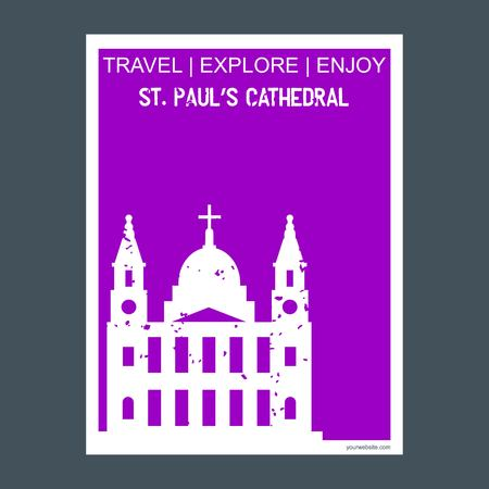 St paul's Cathedral London, UK monument landmark brochure Flat style and typography vector Illustration