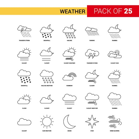 Weather Black Line Icon - 25 Business Outline Icon Set