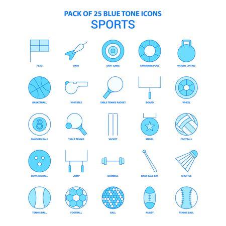 Sports Blue Tone Icon Pack - 25 Icon Sets Illusztráció