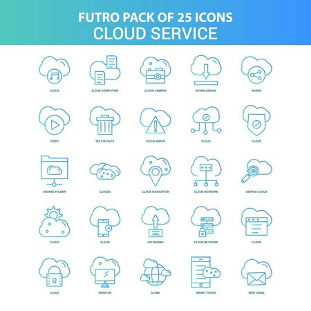 25 Green and Blue Futuro Cloud Service Icon Pack